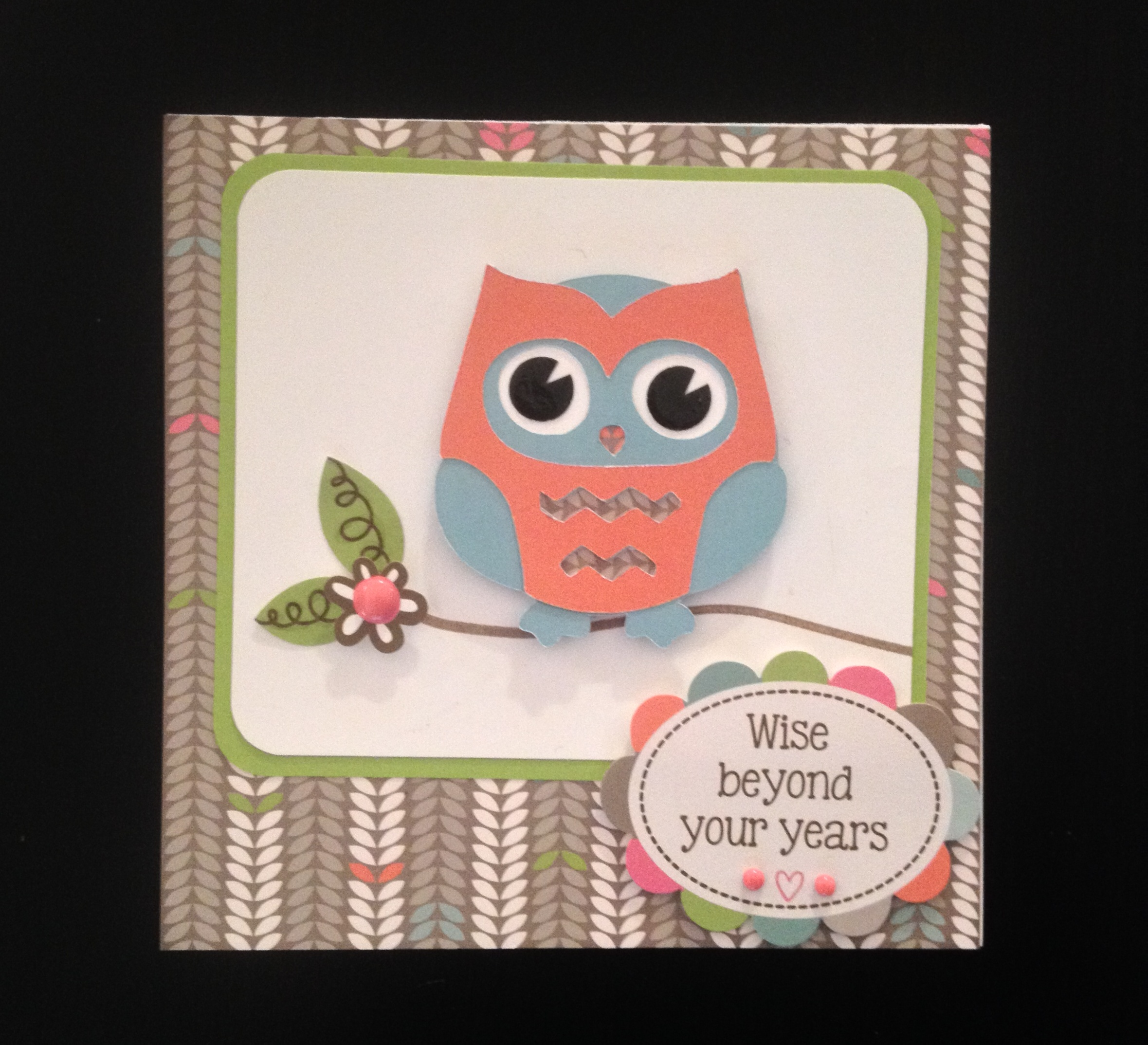 "wise beyond your years"" owl birthday card  scrapedia, Birthday card"